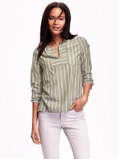 Striped Gauze Tunic Product Image