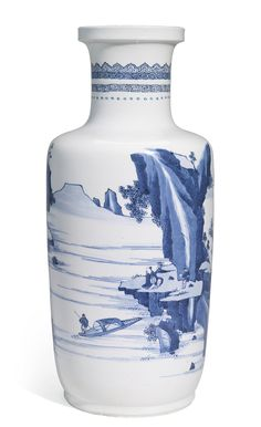 A BLUE AND WHITE ROULEAU VASE<br>QING DYNASTY, KANGXI PERIOD | lot | Sotheby's
