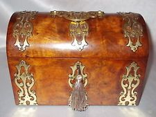 ANTIQUE VICTORIAN c1860 GOTHIC REVIVAL BRASS BURR WALNUT STATIONERY WRITING BOX