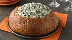 Simple spinach dip in a bread bowl. Perfect for parties!