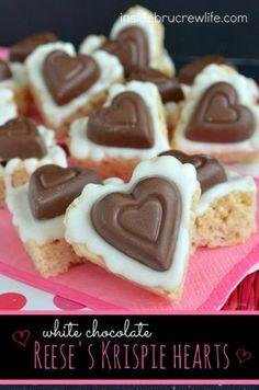 White Chocolate Reese's Krispie Hearts.