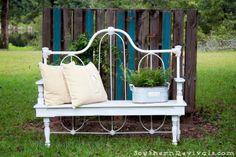 diy headboard bench | Southern Revivals: DIY Repurposed Metal Headboard Bench