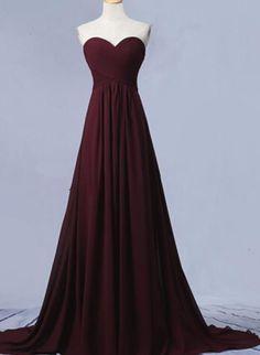 Maroon Long Sweetheart Chiffon Prom Dresses, Pretty Party Dresses, Maroon Bridesmaid Dresses #shortpromdresses