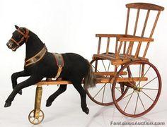 Folk Art Horse & Buggy Pull Toy