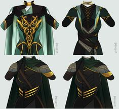 Deep Green by Nanihoo Loki Costume, Loki Cosplay, Anime Outfits, Cool Outfits, Lady Loki, Fantasy Dress, Drawing Clothes, Character Outfits, Character Design Inspiration