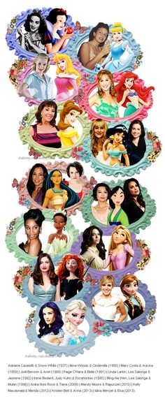 Disney Princess voices. I like that this acknowledges both speaking and singing voices for those that had both.