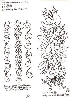 BAUER - SONJA Tambour Embroidery, Folk Embroidery, Hand Embroidery Designs, Embroidery Patterns, Quilt Patterns, Bordado Popular, Tole Painting Patterns, Free Motion Quilting, Embroidery Techniques