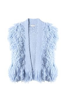 Ultra plush fringe turns this vest into a fashion forward statement that complements your style. Rebecca Taylor, Fringe Vest, Pretty Pastel, Fashion Forward, Fur Coat, Spring Summer, Pastels, Summer Dresses, Knitting
