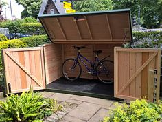 Kayak Storage Shed Store up to 5 bikes securely in the Pedalbase 5 More - Bicycle Storage Shed, Outdoor Bike Storage, Garden Storage Shed, Bike Shed, Motorbike Storage, Recycled Art Projects, Outdoor Projects, Outdoor Decor, Garage Velo