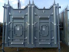 Wooden Front Door Design, Front Gate Design, Door Gate Design, Modern Steel Gate Design, Gate Designs Modern, House Fence Design, Balcony Railing Design, Front Gates, Entrance Gates