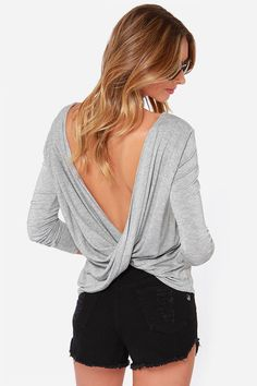 Scoop de Ville Heather Grey Long Sleeve Top - $25 : Fashion Casual Tops at LuLus.com