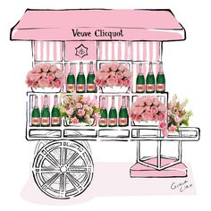 """""""Roses and champagne, what more could you ask for?-)"""" """"The flower cart is reimagined in Rosé by Grace Ciao in celebration of this weekend's Eighth Annual Veuve Clicquot Polo Classic and debut of the first-ever Veuve Clicquot Rosé Garden. Grace Ciao, Flower Truck, Flower Cart, Champagne Bar, Champagne Taste, Veuve Cliquot, Candy Cart, Polo Classic, Palmiers"""