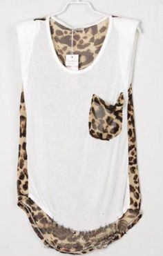 Leopard Patchwork High-low Sleeveless Blouse