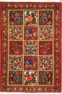 "Bakhtiari Persian Rug 3' 4"" x 4' 11"", Authentic Bakhtiari Handmade Rug"