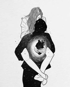 Love Art, All Art, Romance Art, Galaxy Painting, Art Drawings Sketches, Easy Drawings, Pencil Drawings, Couple Art, Psychedelic Art