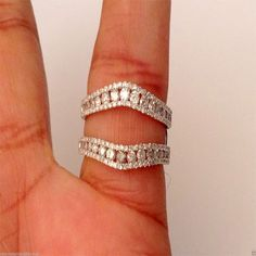 14k White Gold SIZE 4 Solitaire Enhancer Round 1.00ct Diamonds Ring Guard Wrap by RG&D