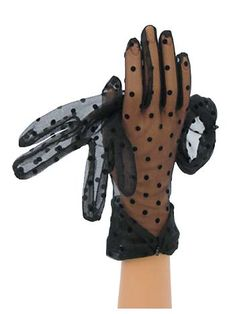 Sheer Black Polka Dot Wrist Length Gloves w/Bow Accent
