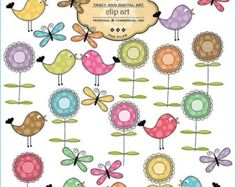 1/2 PRICE Flower Clip Art Butterflies, Birds Digital Images Mega Set  commercial and personal use