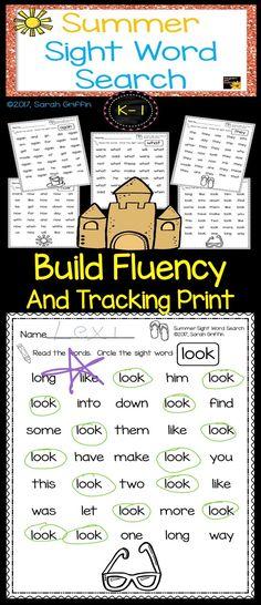 Summer themed Sight Word Search | Worksheets | Kindergarten | first grade | summer review packet