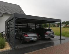 Carport 2 horyzontal 3+1 | Marciniak Ogrodzenia Car Porch Design, Design Garage, Carport Designs, Pergola Designs, House Design, Carport Garage, Pergola Carport, Wood Pergola, Diy Pergola
