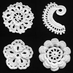 Irish Crochet Lace Nine Flower, Scroll, Dahlia, Rose 1                                                                  www.bizzyhands.nl