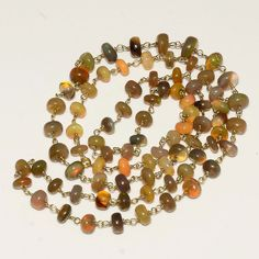 """49CRTS 5to7MM 24"""" ETHIOPIAN OPAL RONDELLE BEADS CHAIN NECKLACE OBI1480 #OPALBEADSINDIA"""