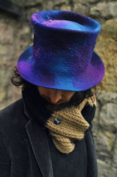 Hand felted wool Magic Hat 'Cosmic' - blue purple teal felt topper - women men - festival ARtWeAR - Handmade READY to SHIP medium large head by #Innerspiral