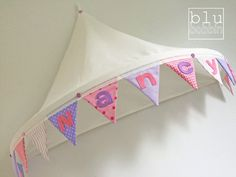 Single bed canopy with personalised felt name on bunting trim, girls bedroom, playroom, reading nook, reading snug