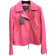Pink Leather Biker jacket LOUIS VUITTON ❤ liked on Polyvore featuring outerwear, jackets, biker jackets, red jacket, leather biker jackets, genuine leather jackets and motorcycle jacket