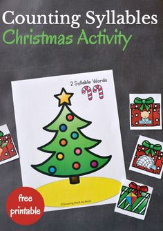 Counting syllables takes a holiday twist with this Christmas activity that will build phonological awareness with preschoolers and kindergarteners. Preschool Christmas Activities, Rhyming Activities, Winter Activities, Art Activities, Christmas Themes, Kids Christmas, Christmas Stuff, Sudoku, Phonological Awareness