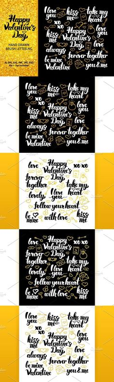 Happy Valentines Day Lettering. Photoshop Brushes