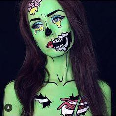 Pop Art Zombie Pop Art Zombie Source by Zombie Halloween Makeup, Zombie Makeup, Halloween Looks, Pop Art Halloween Costume, Facepaint Halloween, Pop Art Costume, Zombie Zombie, Halloween Halloween, Makeup Fx