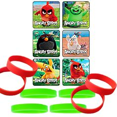 """24 Angry Birds Movie Stickers 6 Different Styles Measures 2.5"""" each 12 Youth Wristbands - 6 Red & 6 Lime Green"""