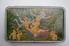 Vintage Old Sweets Tin Box, Rare Collectible Litho Printed Tin Boxes India #1432
