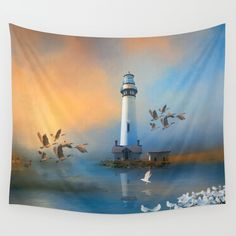 Available in three distinct sizes, our Wall Tapestries are made of 100% lightweight polyester with hand-sewn finished edges. Featuring vivid colors and crisp lines, these highly unique and versatile tapestries are durable enough for both indoor and outdoor use. Machine washable for outdoor enthusiasts, with cold water on gentle cycle using mild detergent - tumble dry with low heat.  #SALE 15% Off + Free Shipping on #Tapestries Today! #lighthouse, #geese, #seagulls