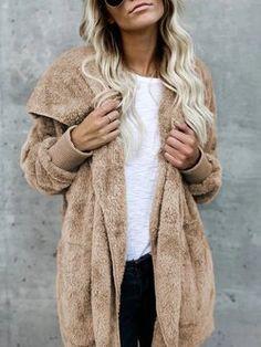 845704b4938 Hoodie Casual Batwing Reversible Shift Fluffy Teddy Bear Coat Fluffy Coat