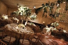 Elegant-Gold-Green-Tent-Wedding-Reception