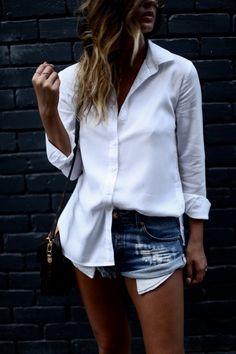 CUT OFFS + BUTTON DOWNS via For All Things Lovely  |  Top: Cloth & Stone | Denim: One Teaspoon | Shoes: Raye | Handbag: Louis Vuitton | Sunglasses: Quay | Lips: MAC Liner 'Stripdown' + MAC Lipstick 'Blankety' Spring Outfits Classy, Casual Outfits, For All Things Lovely, Louis Vuitton Sunglasses, Mac Lipstick, College Outfits, Female Fashion, Types Of Fashion Styles, Button Downs