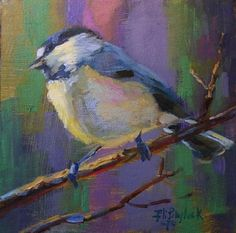 COLORFUL LITTLE CHICKADEE, painting by artist Elizabeth Blaylock
