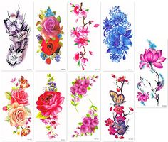 """DaLin Sexy Temporary Tattoos Women 9 Sheets Rose, Peony Flower, Butterflly, Lotus, Cherry Blossoms. <b>SAFE</b>: DaLin Temporary Tattoos Meet Rigid Safety And NON-TOXIC Materials Standard, Passed FDA. <b>VALUE PACK</b>: 9 Sheets, Sheet size 4""""X 8"""". <b>WATERPROOF</b>: You can go with it to the beach / the pool. <b>LONG LASTING</b>: It will last for 2-7 days, depends on how many showers you take and how many times you scrub the tattoo with soap and water. <b>EASY TO APPLY & REMOVE</b>: Easy…"""