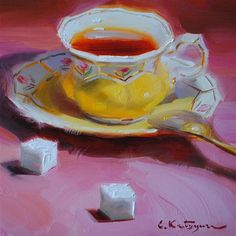 """Tea and Sugar"" - Original Fine Art for Sale - © Elena Katsyura"