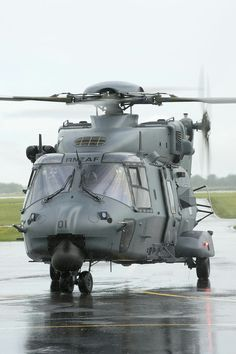 The NHIndustries is a medium-sized, twin-engine, multi-role military helicopter. It was developed in response to NATO requirements for… Military Helicopter, Military Aircraft, Fighter Aircraft, Fighter Jets, Augusta Westland, Airbus Helicopters, Surplus Militaire, Engin, Army & Navy