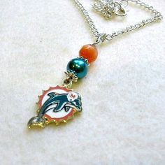 FREE SHIPPING in USA Miami Dolphins Necklace Miami Dolphins