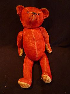 Grumpy teddy.. RED IDEAL MOHAIR TEDDY BEAR CIRCA 1915