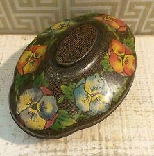 Art Nouveau c1930 Vintage Confection Tin Box Brown Wicker Basket Pansy Rowntree