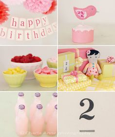 love the happy birthday banner for cake smash, especially mixed with the tissue balls.