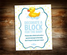 Decorate a Block - Sign a Block - Boy Baby Shower - Baby Shower Sign -  Baby Shower Decor