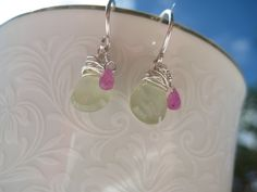 Facted prehnite and tiny AAA african ruby briollete welcome the spring. Handmade sterling silver earwires.