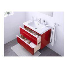GODMORGON / ODENSVIK Meuble lavabo 2tir - brillant rouge - IKEA