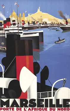 ROGER BRODERS (1883-1953) Size: 25 1/8 x 39 5/8 in./63.7 x 100.8 cm Lucien Serre, Paris Smokestacks, vents, and tackle in the foreground with clusters of ships in the busy harbor beyond create a striking geometric collage in this design for Marseille, the finest port for those wishing to travel to Northern Africa.